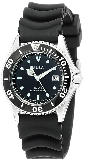 new concept 9f579 f92a6 [セイコーウォッチ] 腕時計 アルバ ソーラー 200m空気潜水用防水 ダイバーズ ウレタンバンド AEFD530 メンズ ブラック