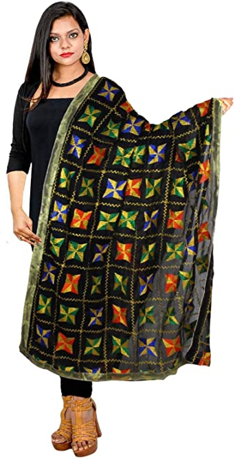phulkari embroidered trouser freesize with mirrorwork and embroidery