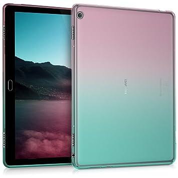 kwmobile Funda compatible con Huawei MediaPad M3 Lite 10 - Carcasa trasera para tablet de TPU - En rosa fucsia / azul / transparente