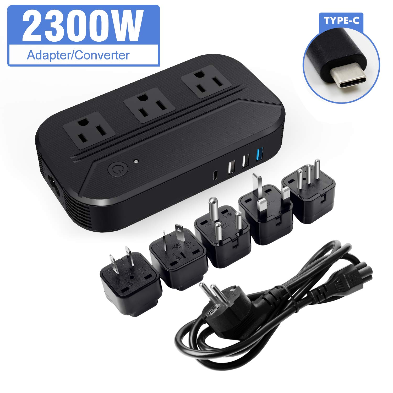 Croztek Voltage Converter 2300W Step Down 220V/240V to 110/120V International Travel Adapters Power Transformer Set w/USB Type-C Quick Charge Ports EU Cable UK/AU/IT/US/India Plugs - Black