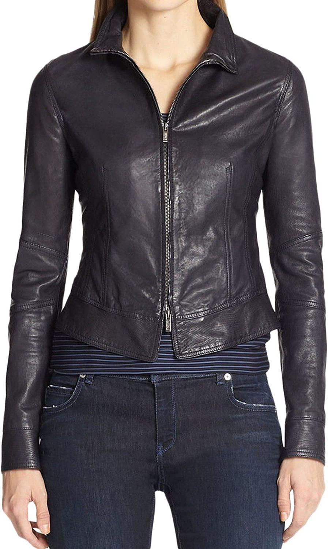 Pristine Leather Womens Lambskin Leather Motorcycle Rider Biker Bomber Black Jacket WJ-220