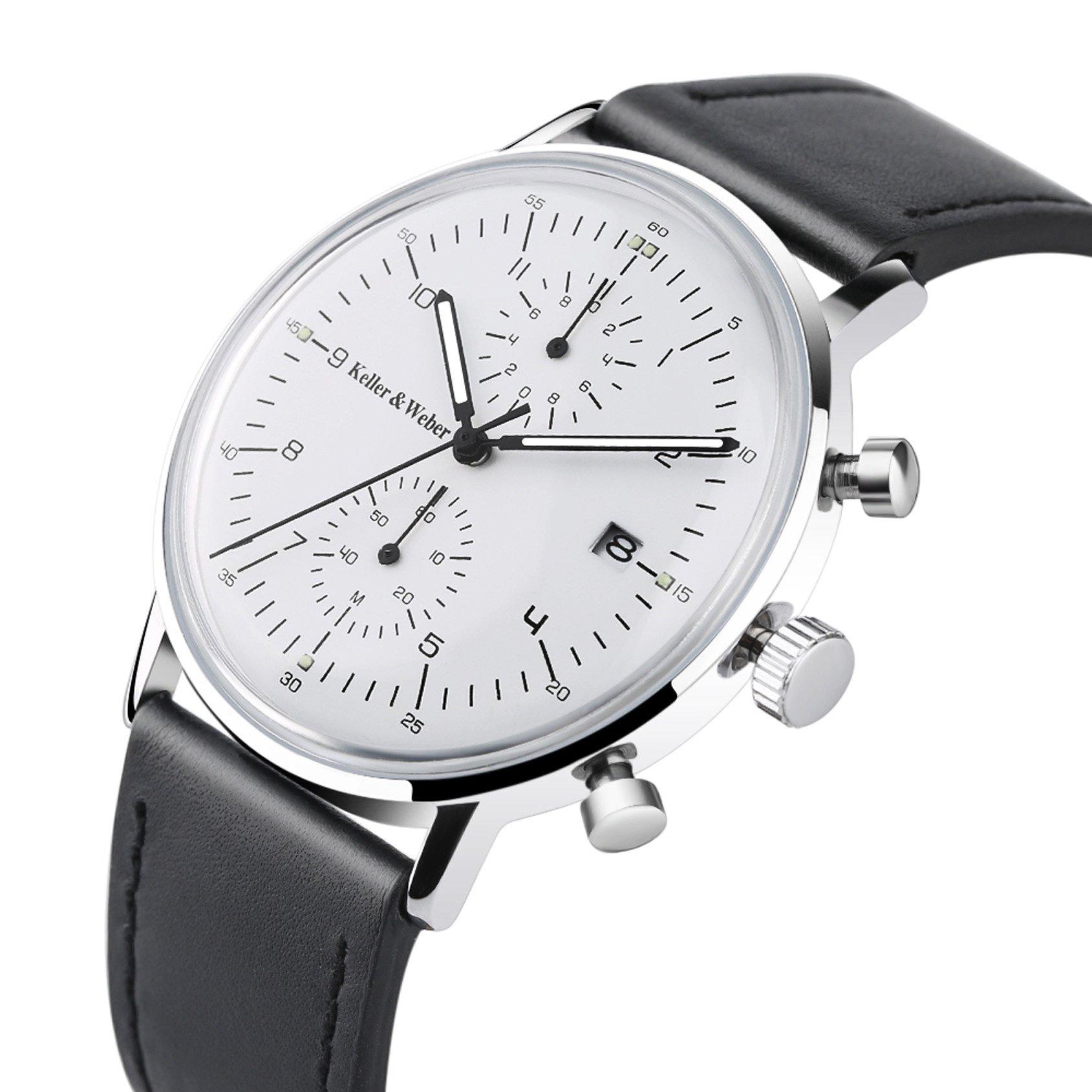 Keller & Weber Quartz Men Watches Sports Chronograph Waterproof Genuine Leather Band Business Wristwatch by Keller & Weber