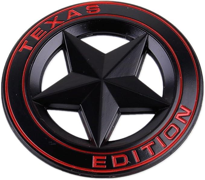 Texas Edition Star Metall Emblem Aufkleber Schwarz Rot Auto