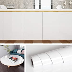 """Livelynine Removable Gloss White Wall Paper for Walls Stick on Backsplash for Kitchen Wallpaper Peel and Stick Countertops Self Adhesive Shelf Liner White Vinyl Sheet 15.8""""x78.8""""Roll"""
