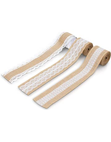GRUBly Cinta decorativa de tela arpillera - 3 rollos cinta de yute - 3 estilos distintos