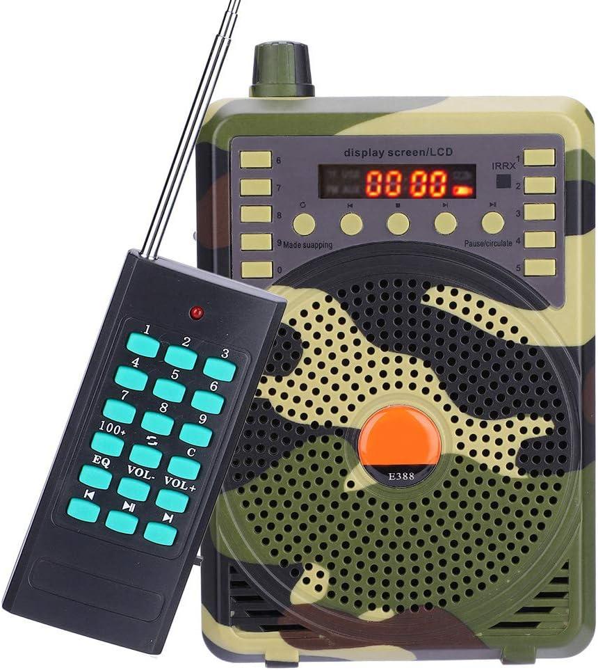 DaMohony Llamador de Pájaros Electrónico Portátil Señuelo de Caza Pájaro Llamador Reproductor Kit de Control Remoto de Altavoz MP3 Recargable