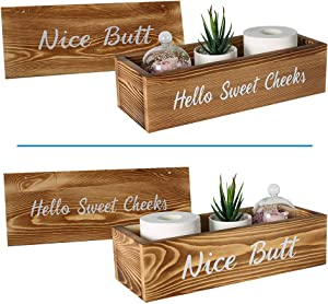 Joiishom Nice Butt Bathroom Decor Box, and Rustic Wood Wall Sign - 2 Sides with Nice Butt and Hello Sweet Cheeks Bathroom Sign, Funny Farmhouse Rustic Wood Crate Home Decor Box (Brown-Upgrade)