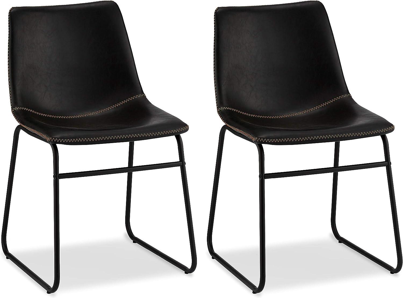 Furnhouse Furniture Juego de 2 sillas de Comedor, Patas: Acero, Asiento: Madera contrachapada, Poliuretano, Negro, 46x54x78: Amazon.es: Hogar