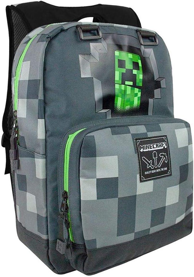 Minecraft Creepy Creeper Backpack - Dark Grey, Printed, 9% Polyester