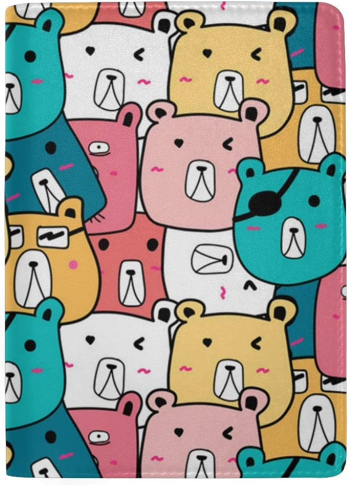 Colorful Cute Polar Bear Leather Passport Holder Cover Case Blocking Travel Wallet