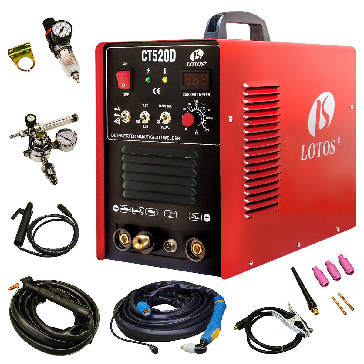 Lotos CT520D Plasma Cutter Tig Stick Welder 3 in 1 Combo Welding Machine, 50Amp Air Plasma Cutter,  200A TIG/ Stick Welder, Dual Voltage 220V/110V by Lotos Technology
