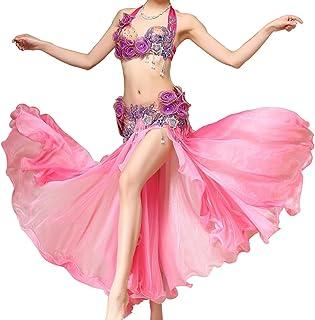 AAA MoLiYanZi Costume de Danse de Ventre pour des Femmes des Fleurs de Robe de rendement Professionnelles avec la Jupe Fendue de Fantaisie de côté