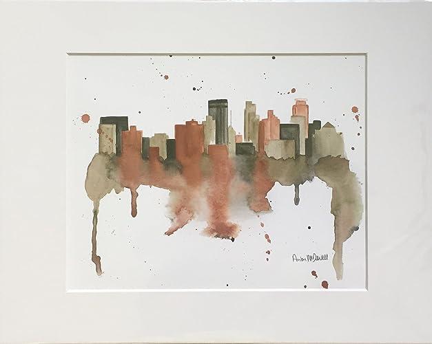 Minneapolis Minnesota Skyline Art Wall Home Decor Giclee Fine Print 8x10 Matted To Fit An 11x14 FrameOn Archival Paper