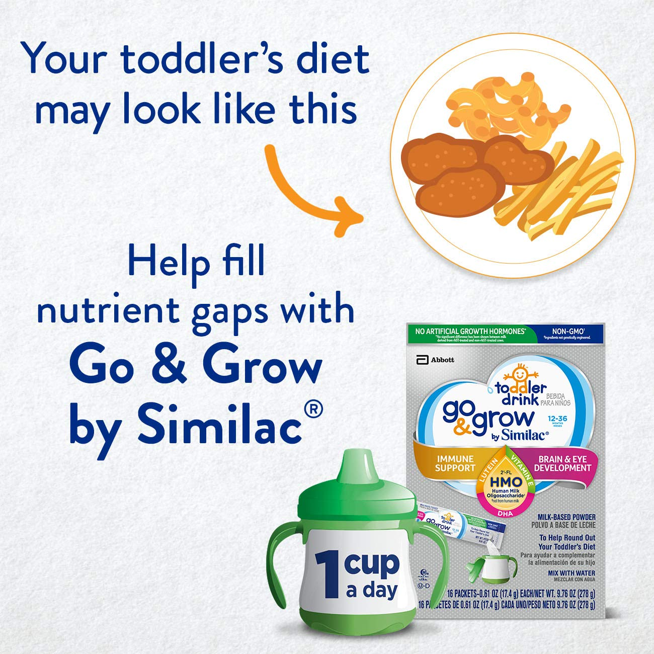 Go & Grow by Similac Non-GMO Toddler Milk-Based Drink with 2'-FL HMO for Immune Support, Powder Stick Packs, 17.4 g, 64 Count by Similac Go & Grow Milk (Image #10)