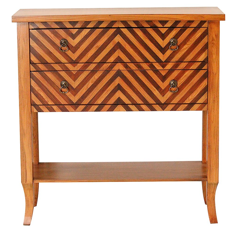 Heather Ann Creations Heirloom Collection Handcrafted 2 Drawer Chevron Accent Console with Shelf, 33'' x 13'' x 32'', Woodtone by Heather Ann Creations (Image #1)