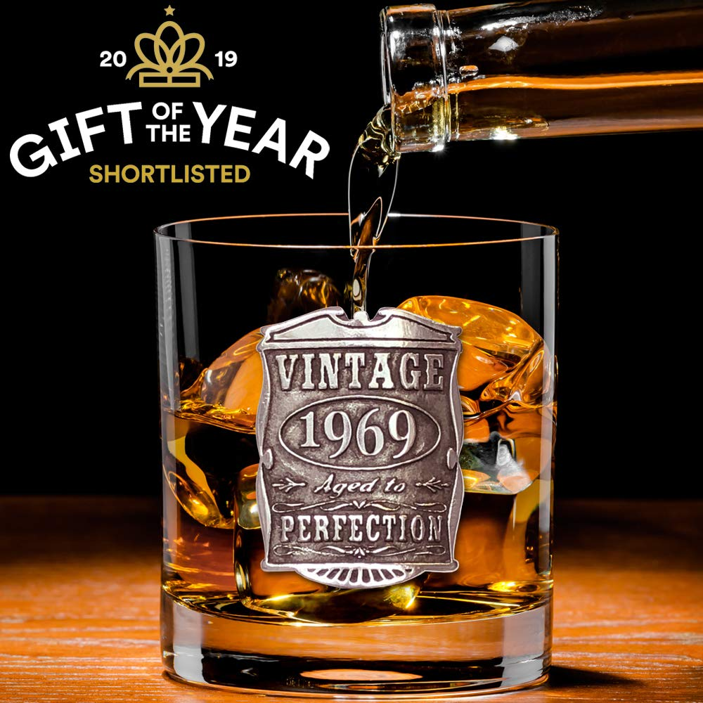 English Pewter Company Vintage Years 1969 50th Birthday or Anniversary Old Fashioned Whisky Rocks Glass Tumbler - Unique Gift Idea For Men [VIN003] by English Pewter Company Sheffield, England