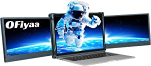 OFIYAA P2 Triple Portable Monitor Laptop Screen Extender Dual 11.6'' Display 1080P FHD IPS USB-A/Type-C/HDMI 4 Speakers Monitor for Switch/PS5 Compatible with 13''-17'' Mac PC/Notebook
