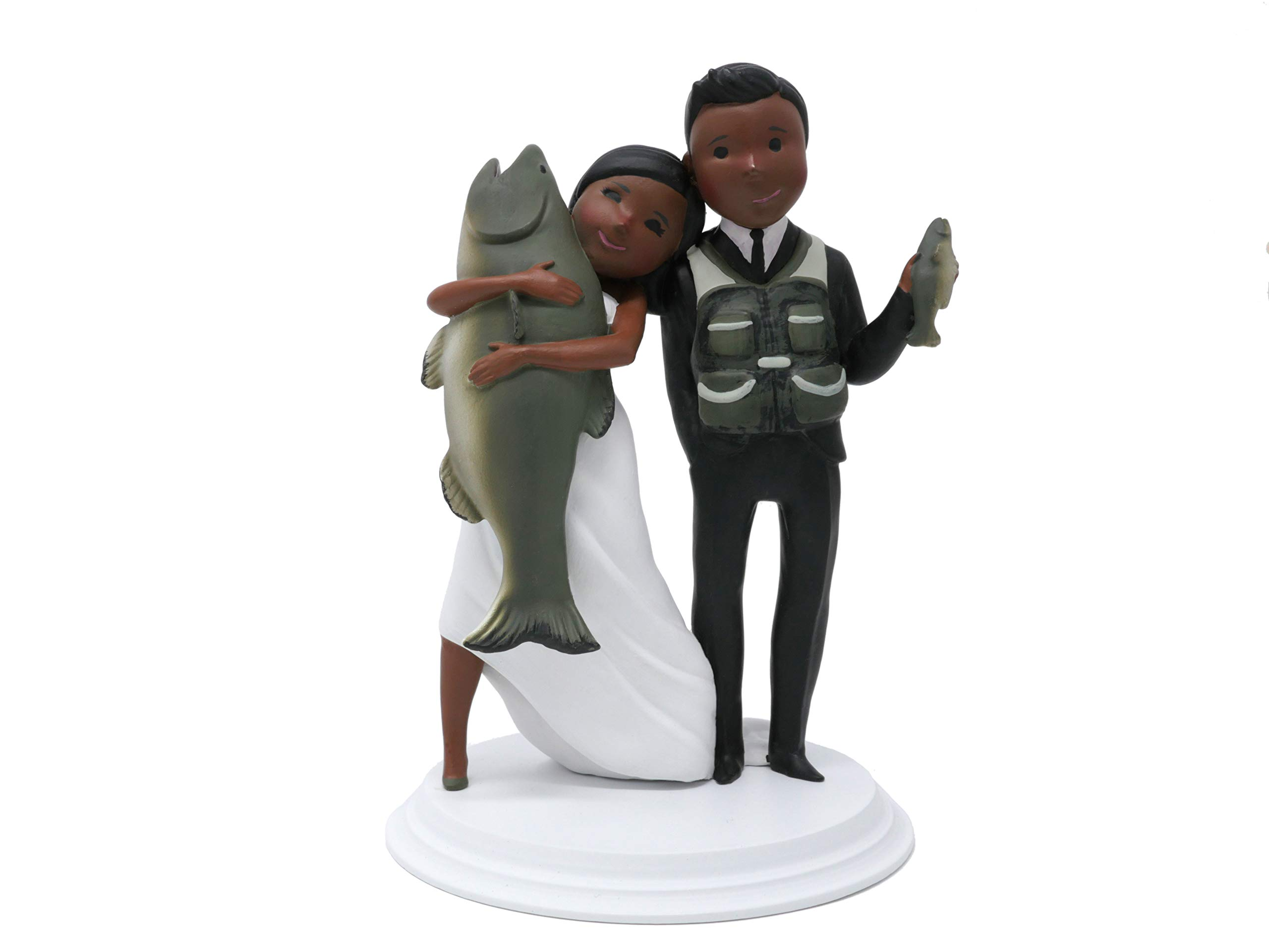 Wedding Cake Toppers - Unique and Funny Fishing Wedding Cake Toppers Bride and Groom (Dark Skin - Black Hair)