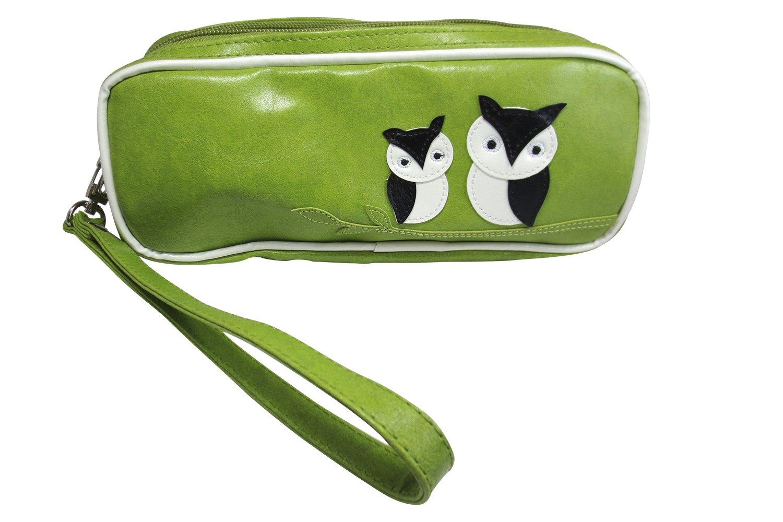 Lavishy Happy Owl - Owl in Love Double Zip Travel Makeup Pouch Wristlet (Green)