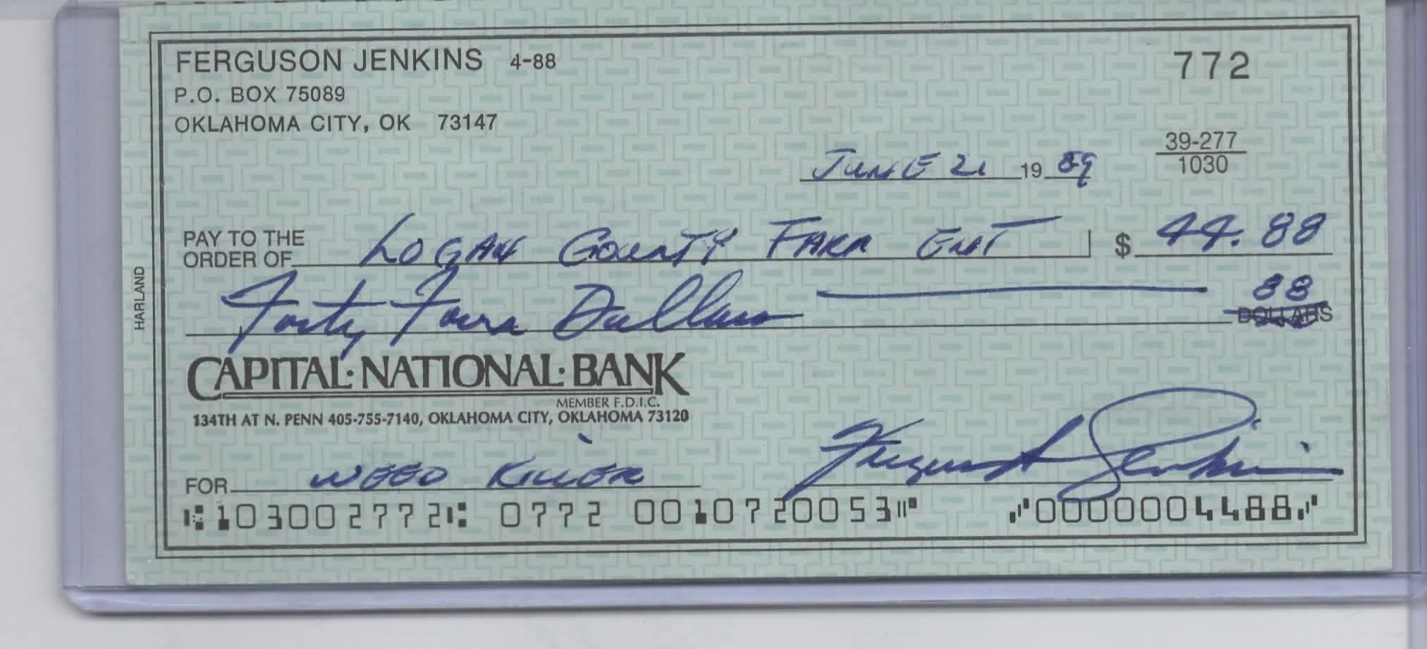 "FERGUSON ""FERGIE"" JENKINS SIGNED PERSONAL CHECK #772 CHICAGO CUBS"