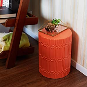 """MOTINI Ceramic Garden Stool Orange, 16"""" Round Glazed Elliptical Pattern Ceramic Garden Stool Decorative Side Table Accent Stool for Garden, Patio, Lawn, Home Indoor & Outdoor"""