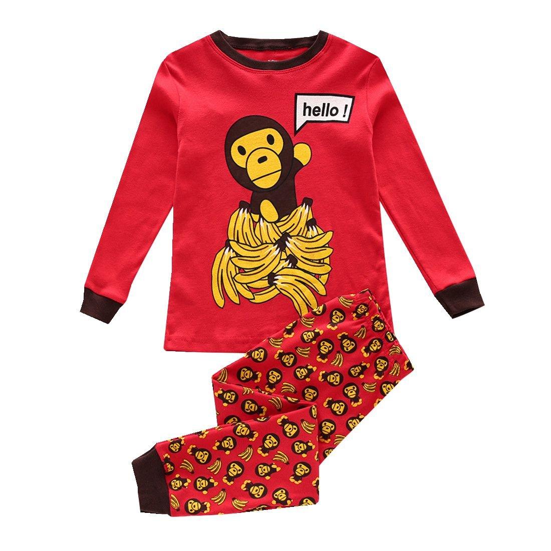 Boys Pajamas Easy Long Sleeves Toddler Clothes Monkey Kids Pjs Sleepwear 2 Piece Yzjcafriz