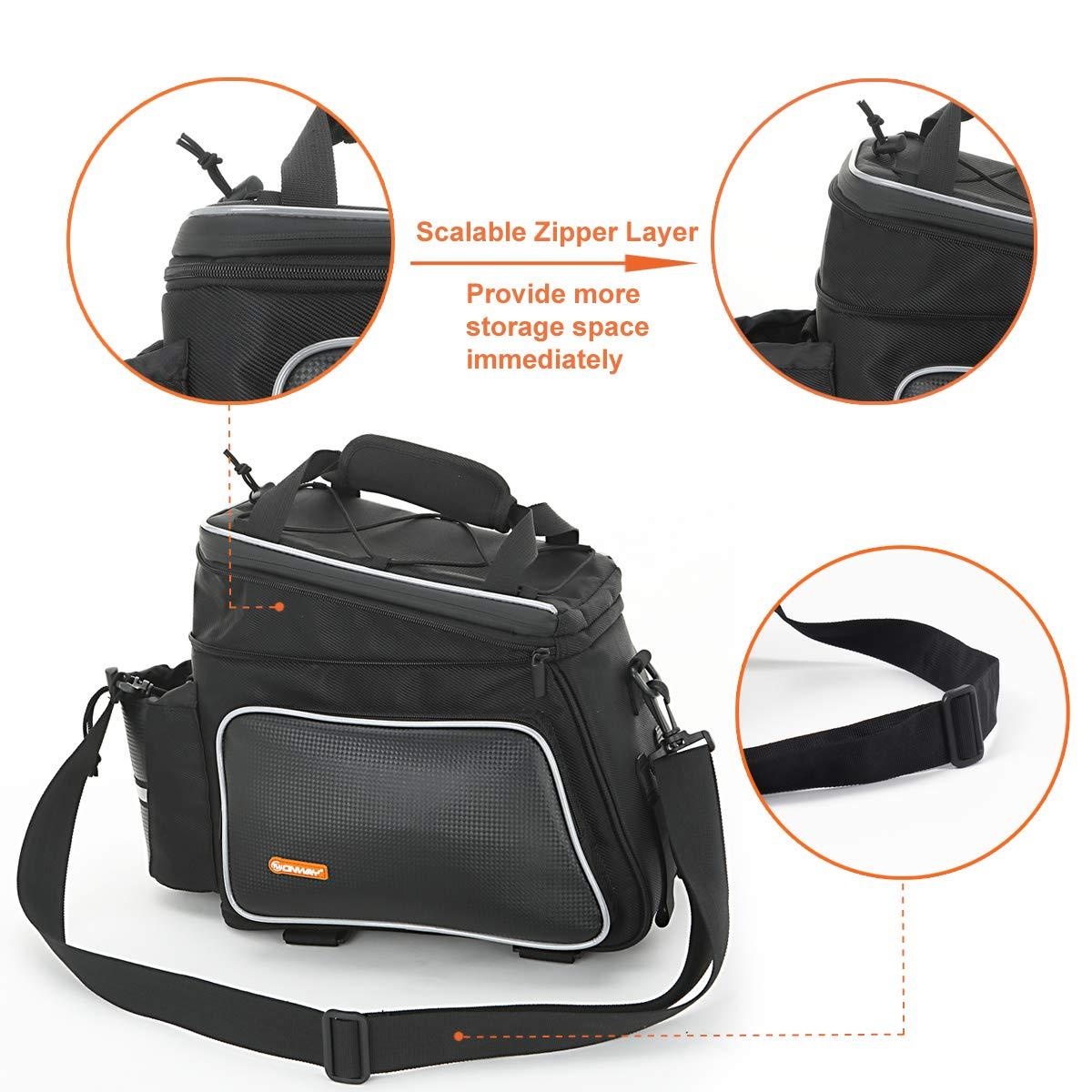 e4c3bca3e2a6 Amazon.com   ONWAY Bike Rack Bag Waterproof Bike Bags Rear Rack Mount with  Reflective Trim