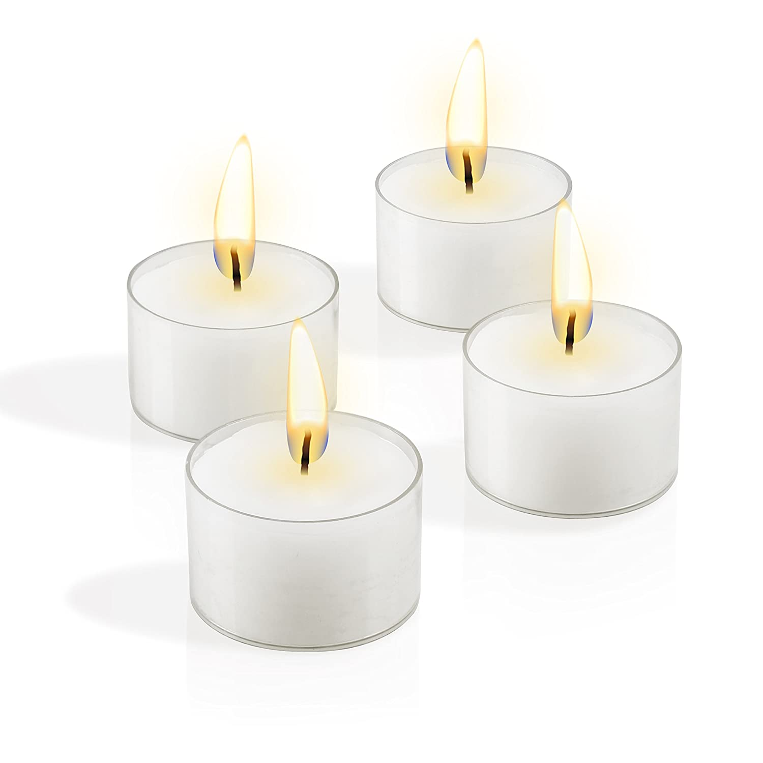 set of 48 Simcha Tealight Candles Top Quality No Messy Cleanup Easy Disposal Protects Surfaces Sophisticated Design Burns 8 Hours White Unscented in clear cups