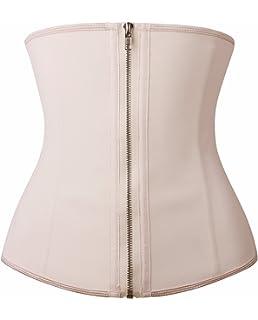 c11dddc56a YIANNA Women Latex Underbust Waist Training Corsets Cincher Zip Hook  Hourglass Body Shaper