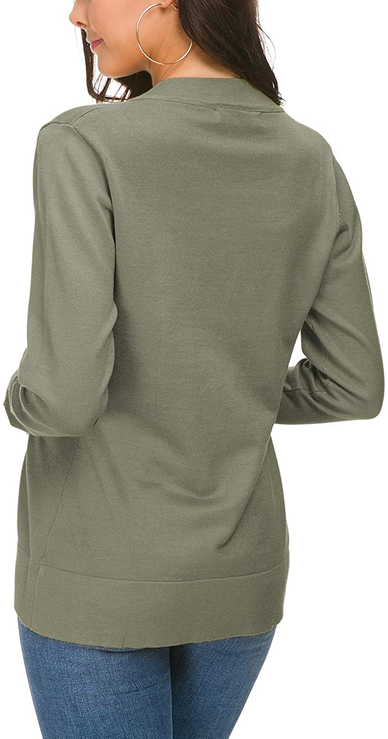 Urban CoCo Womens Long Sleeve Open Front Knit Cardigan Sweater