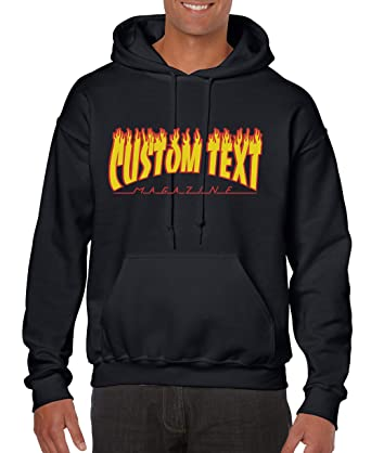 3e5b1f10e47 Custom Text Skate Magazine Thrasher Style - Unisex Hoodie - Cool Modern  Personalized Sweater (Y01