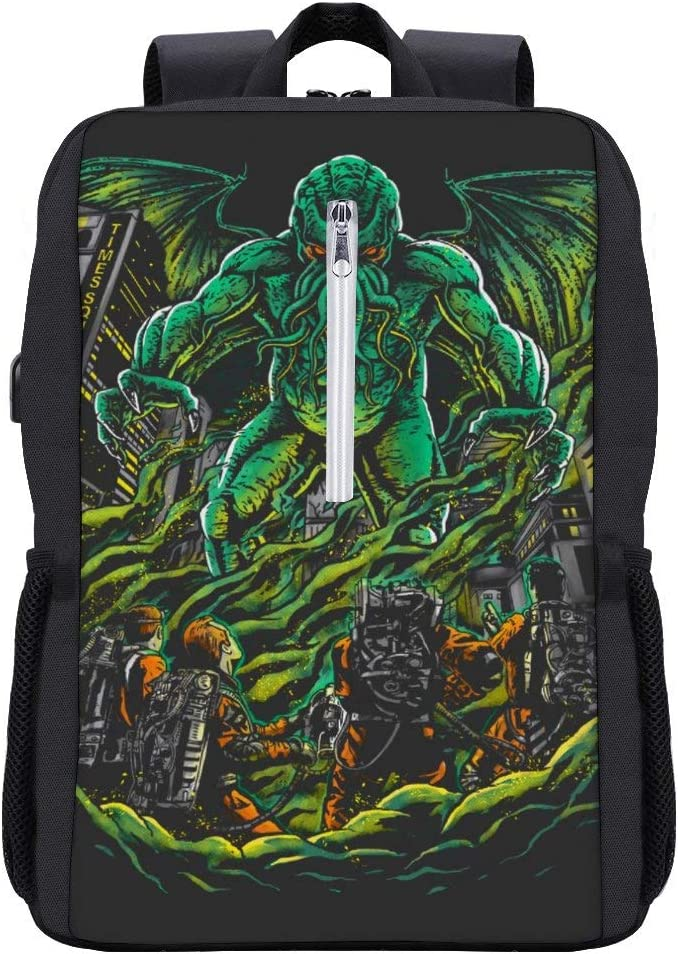 Godbusters Ghostbusters Cthulhu Mythos Backpack Daypack Bookbag Laptop School Bag with USB Charging Port