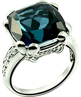 863f16fb63955 Amazon.com: RB Gems Sterling Silver 925 Statement Ring Genuine Blue ...
