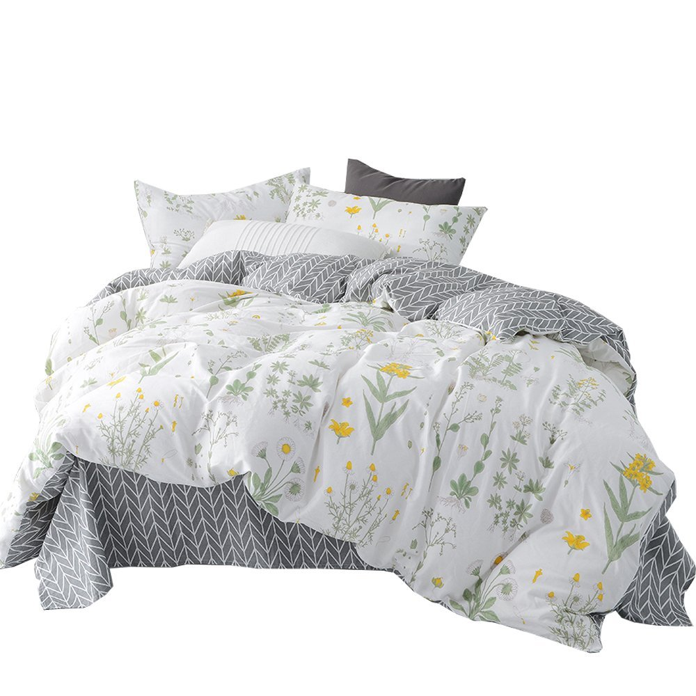 HIGHBUY Cotton Twin Duvet Cover Sets Kids Girls Little Yellow Floral Print Bedding Sets Twin 3 Piece with Zipper Closure Reversible Grey Geometric Chevron Stripe Design Bedding Collection for Children