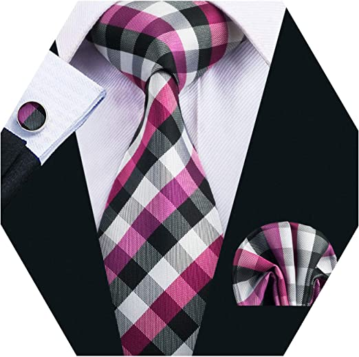 Handsome Men/'s Tie Classic Novelty Silk Necktie Cufflinks Hanky Set