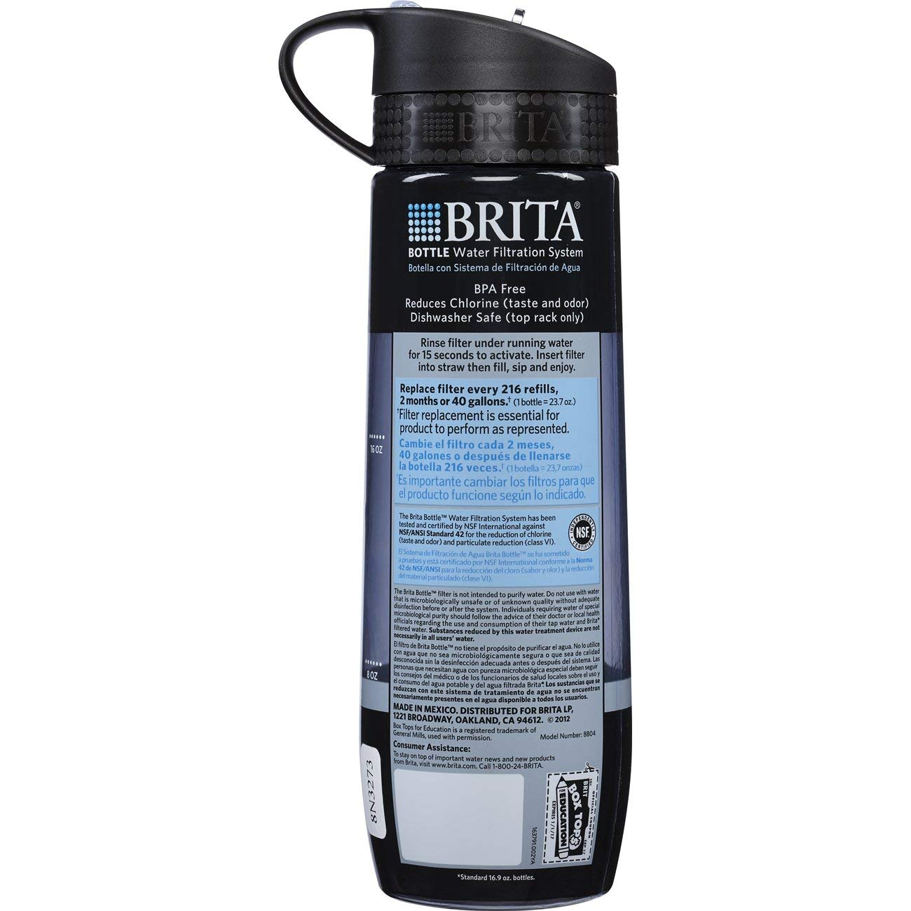 Brita 23.7 Ounce Hard Sided Water Bottle with Filter Gray 10060258358084 BPA Free