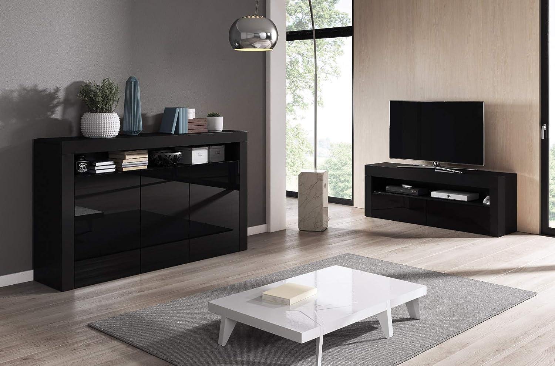 E-com Luna - Cómoda (155 cm), Color Blanco y Negro