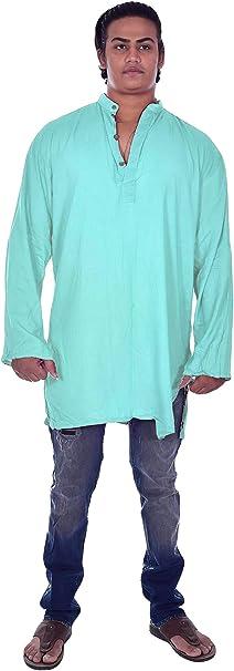 Lakkar Haveli Mens Indian Tank Top Camis Shirt Kurta Solid Blue Color Tunic 100/% Cotton Plus Size