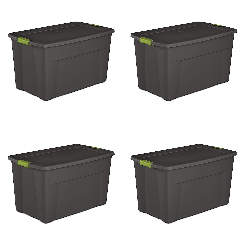 Sterilite 19453V04 35 Gallon/ 132 Liter Latch Tote, Flat Gray Lid & Base w/ Soft Fern Latches, 4-Pack