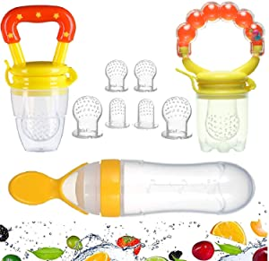 Gedebey Baby Food Feeder, Pacifier Fruit- Fresh Silicone Bottle Squeeze Spoon Frozen Fruit Pacifiers Nibbler Hygienic Cover Newborn with Meshes Sizes for Baby Food Spoon (Yellow)