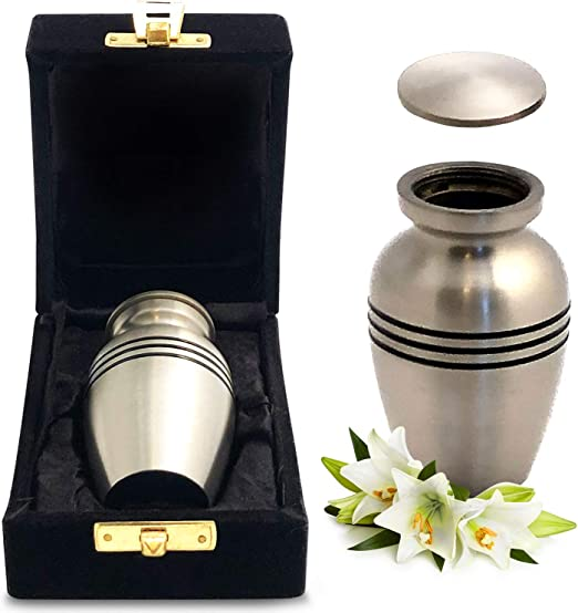Well Lived® Red and Brass Small Keepsake Cremation Urn for human ashes