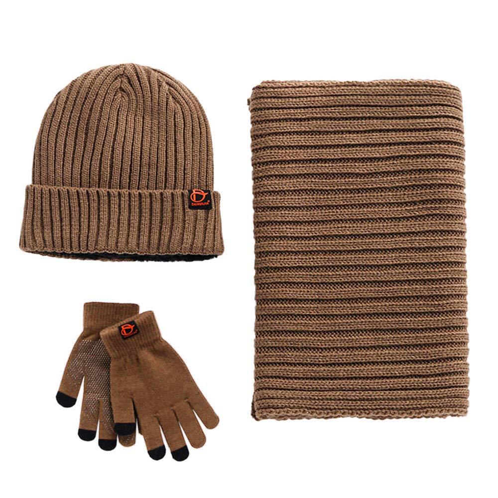Unisex Scarf Hat Glove Set-Soft Stretch Warm Knit Hat Cap Beanie Mitten Scarves Touchscreen Gloves Fashion 3 in 1 Winter Cold Gift Set for Women Men