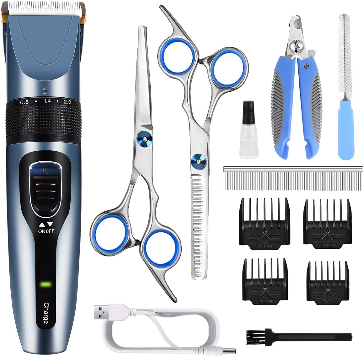 Rechargeable Cordless Dog Hair Trimmer Professional Dog Grooming Clipper Kit 3-Speed Low Noise Electric Hair Cutting Kit with Sharp Blade and High Power for Thick Heavy Coats Pets Dog Clippers