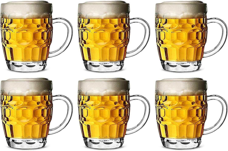 Jarra de cerveza de plástico de policarbonato CE, 568 ml, juego de 6 tazas de cerveza de barril, taza de pinta, jarra de pinta, jarra de plástico