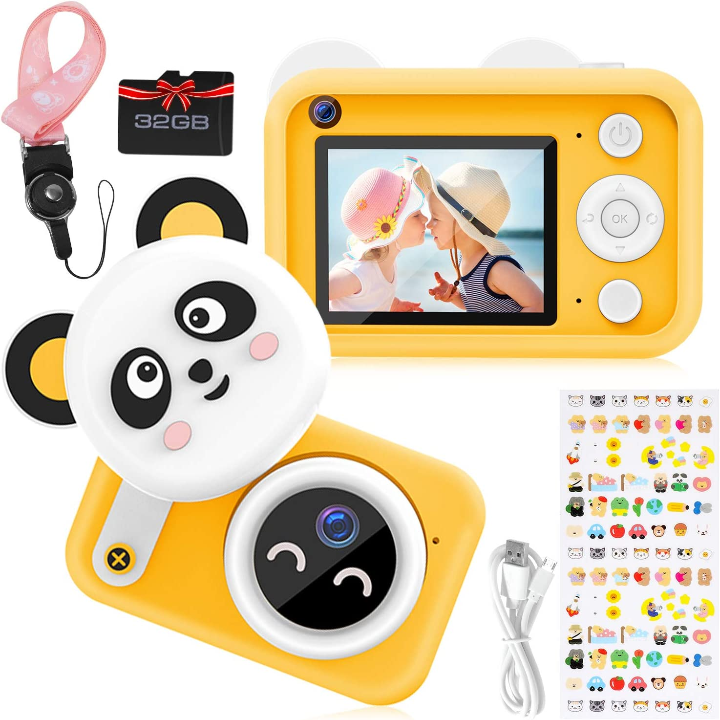 Vimpro Kids Camera, Newest 1080P HD Digital Dual Cameras with 32GB SD Card, Toddler Selfie Video Recorder Toy for 4-12 Year Old Boys (Yellow)