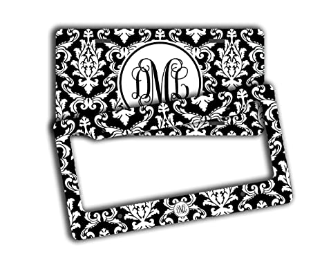 Amazon.com: Monogram license plate and frame [SET] - Black and white ...