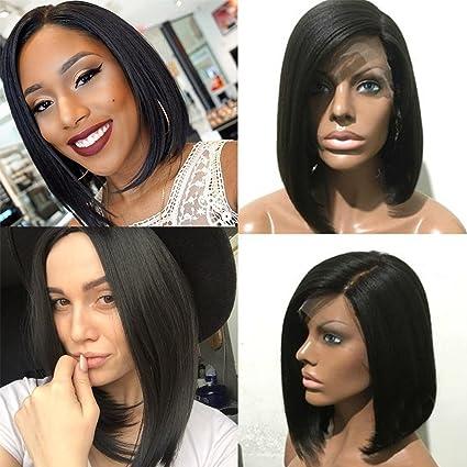 Peluca BOB de pelo humano natural brasileño sin pegamento. Pelo negro natural para mujeres.