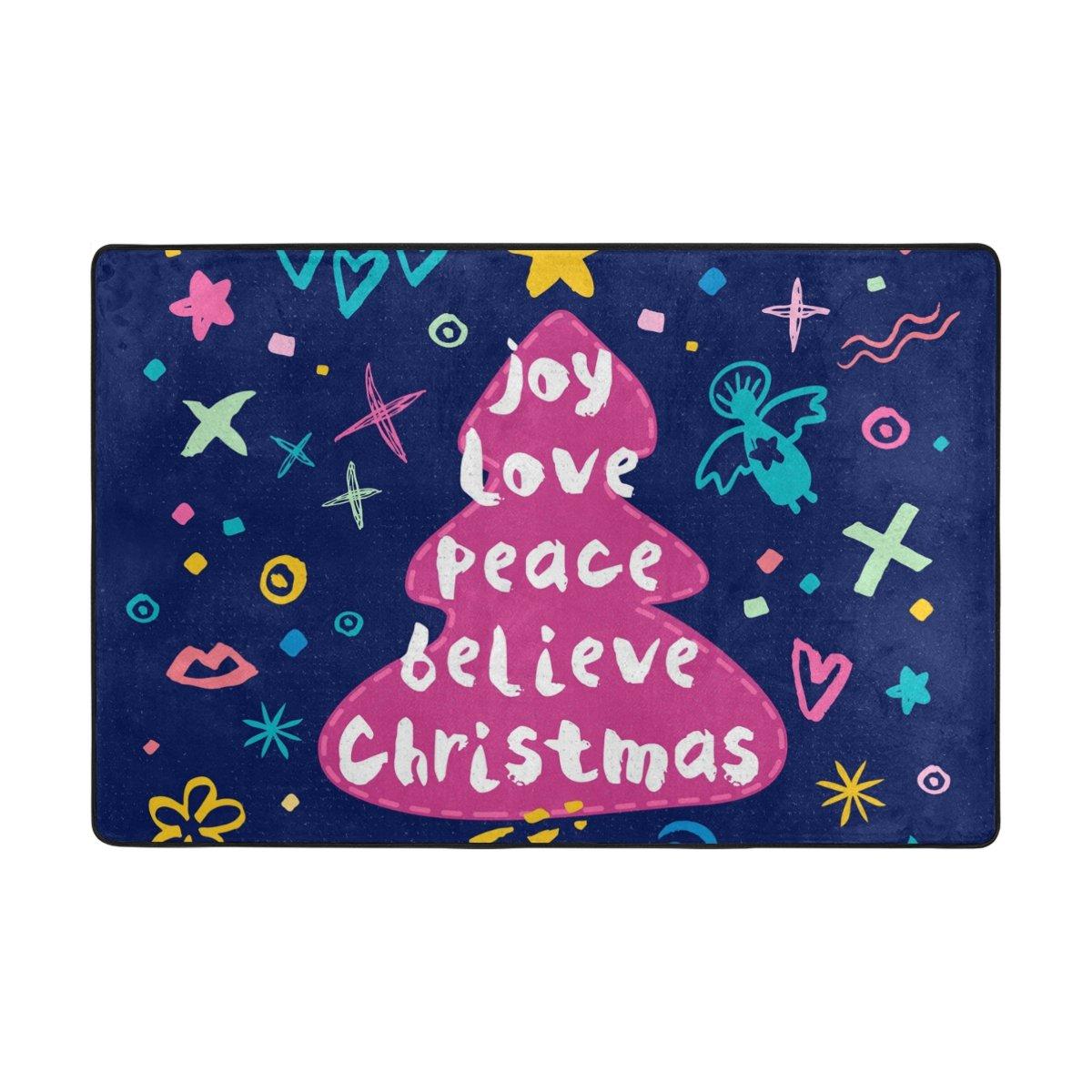 Colourlife Joy Love Peace Believeクリスマス領域ソフトラグ床マット装飾ダイニングルームリビングルームベッドルームの入り口36 x 24インチ 36 x 24 inches dd-003 36 x 24 inches  B077RTW8DZ