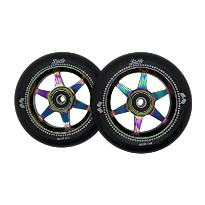 Liberty Pro Scooters - 110mm Sixstar Pro Freestyle Scooter Wheels (Pair) (Neo Chrome - Oil Slick) : Sports & Outdoors