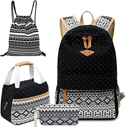 4pcs School Backpack Set for Girls Boys Canvas Backpacks Teen Girls Lunchbox Daily Sports Bags Backpack Lunch Bag